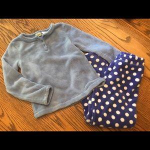 LL Bean girls fleece pajama set